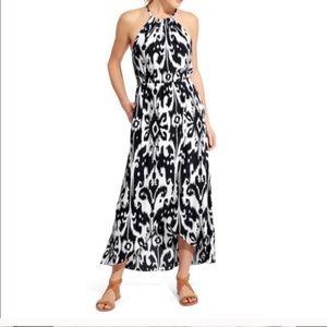 Athleta Ikat Bloom Ripple Black & White Maxi Dress
